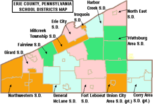 Map of Erie County Pennsylvania School Districts