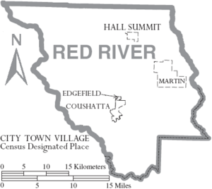 Map of Red River Parish Louisiana With Municipal Labels