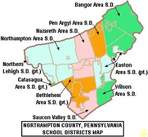 Map of Northampton County Pennsylvania School Districts
