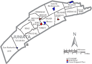 Map of Juniata County Pennsylvania With Municipal and Township Labels