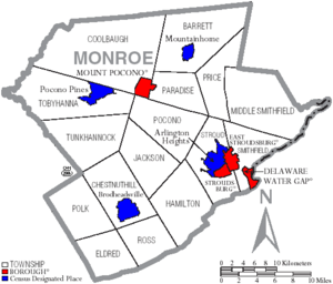 Map of Monroe County Pennsylvania With Municipal and Township Labels