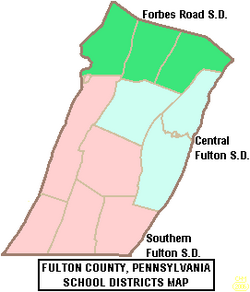 Map of Fulton County Pennsylvania School Districts