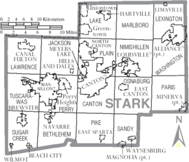 Map of Stark County Ohio With Municipal and Township Labels