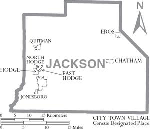 Map of Jackson Parish Louisiana With Municipal Labels