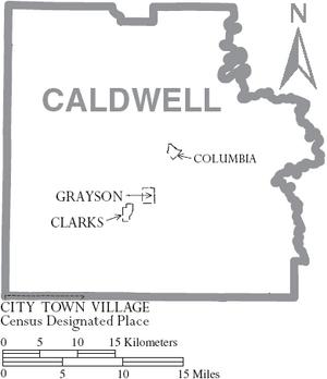 Map of Caldwell Parish Louisiana With Municipal Labels
