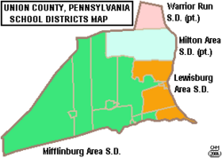 Map of Union County Pennsylvania School Districts