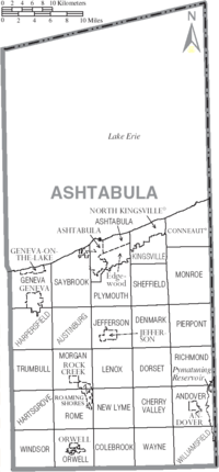 Map of Ashtabula County Ohio With Municipal and Township Labels