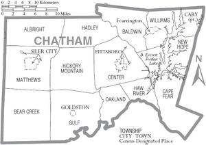 Map of Chatham County North Carolina With Municipal and Township Labels