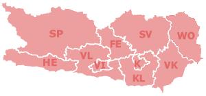 Map at kaernten bezirke kfz