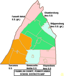 Map of Franklin County Pennsylvania School Districts