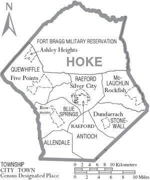 Map of Hoke County North Carolina With Municipal and Township Labels