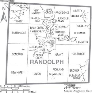 Map of Randolph County North Carolina With Municipal and Township Labels