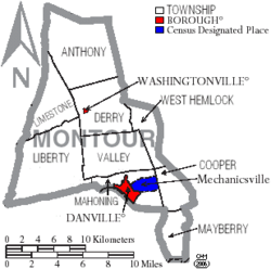 Map of Montour County Pennsylvania With Municipal and Township Labels