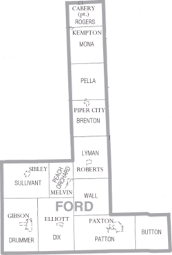 Map of Ford County Illinois