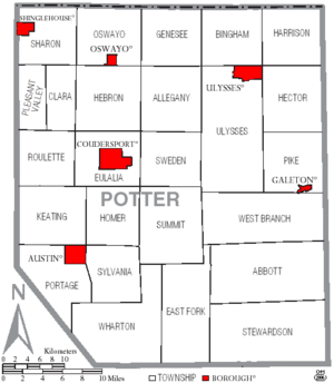 Map of Potter County Pennsylvania With Municipal and Township Labels