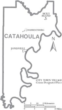 Map of Catahoula Parish Louisiana With Municipal Labels