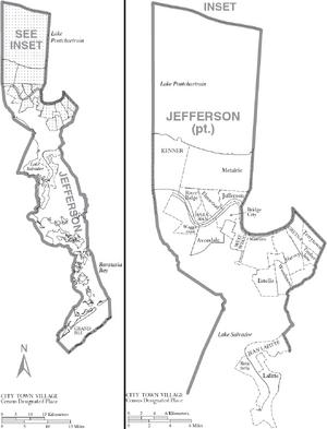 Map of Jefferson Parish Louisiana With Municipal Labels