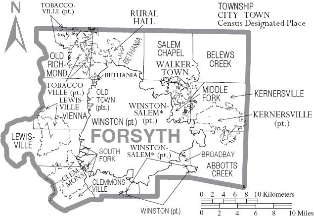 Image map of forsyth county north carolina with municipal and map of forsyth county north carolina with municipal and township labelsg publicscrutiny Gallery