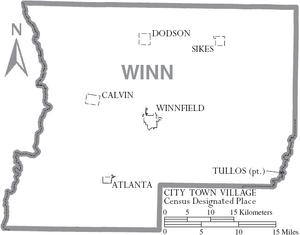 Map of Winn Parish Louisiana With Municipal Labels
