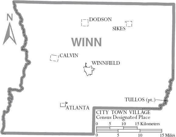 Image Map Of Winn Parish Louisiana With Municipal Labels Png