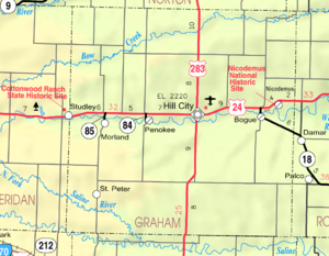 Map of Graham Co, Ks, USA