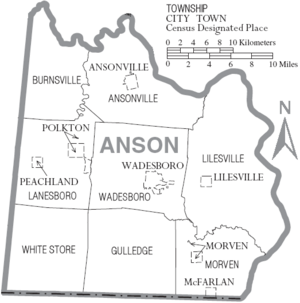 Map of Anson County North Carolina With Municipal and Township Labels