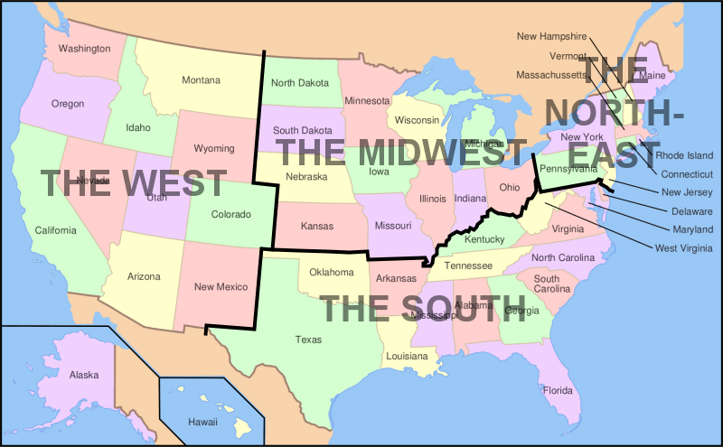 Image Map of USA showing regionspng Familypedia FANDOM