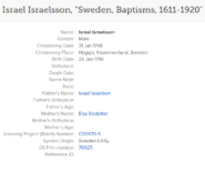 Birth of Reverend Israel Israelsson Näslund III (1796-1858) indexed at Familysearch
