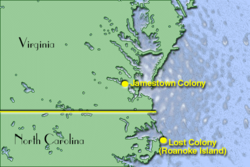 Map showing location of Jamestown and Roanoke Island Colonies