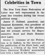 Grover Cleveland Lindauer (1885-1968) in the Buffalo Labor Journal on November 9, 1922