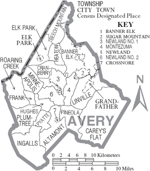 Map of Avery County North Carolina With Municipal and Township Labels