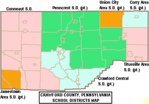 Map of Crawford County Pennsylvania School Districts