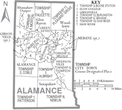 Map of Alamance County North Carolina With Municipal and Township Labels