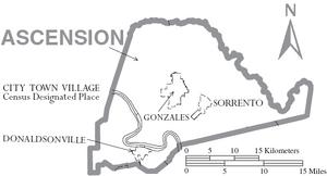 Map of Ascension Parish Louisiana With Municipal Labels