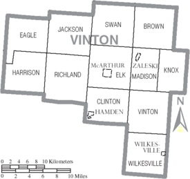 Map of Vinton County Ohio With Municipal and Township Labels