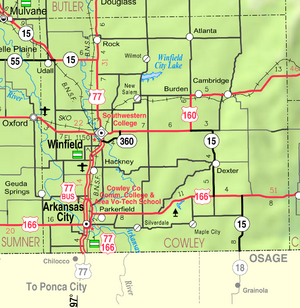 Map of Cowley Co, Ks, USA