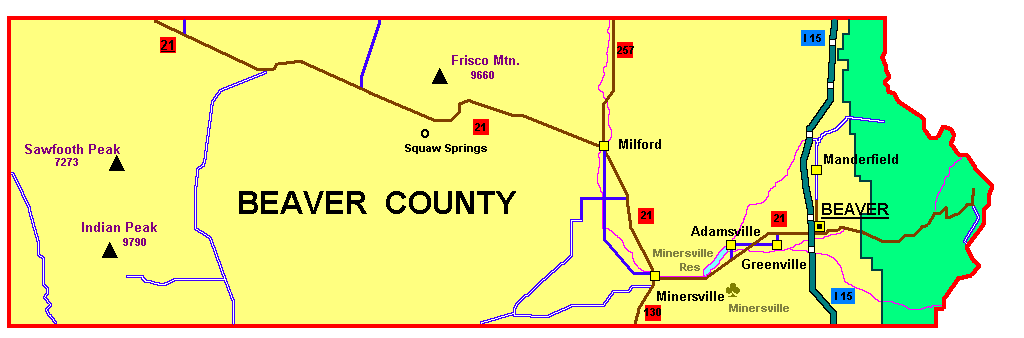 County Utah Map.Beaver County Utah Familypedia Fandom Powered By Wikia