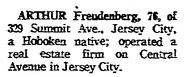 Arthur Oscar Freudenberg I (1891-1968) in the Jersey Journal Wednesday, Jan 24, 1968