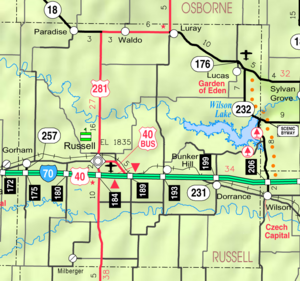 Map of Russell Co, Ks, USA