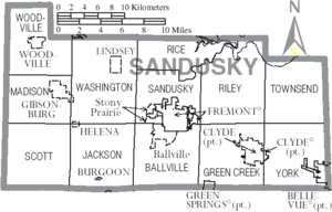 Map of Sandusky County Ohio With Municipal and Township Labels