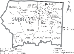 Map of Surry County North Carolina With Municipal and Township Labels
