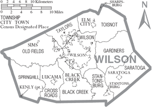 Map of Wilson County North Carolina With Municipal and Township Labels