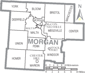 Map of Morgan County Ohio With Municipal and Township Labels