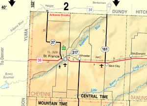 Map of Cheyenne Co, Ks, USA