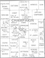 Map of Champaign County Illinois