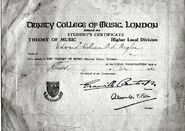 1943 - Edward William Burgess Baglin (1906-1969) Theory of Music Examination pass
