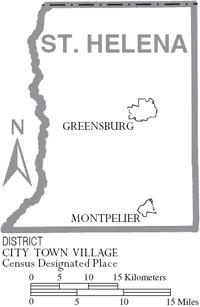 Map of St. Helena Parish Louisiana With Municipal Labels