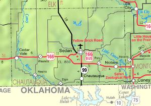 Map of Chautauqua Co, Ks, USA