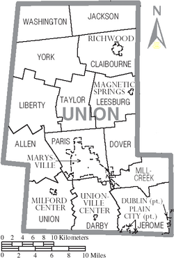 Map of Union County Ohio With Municipal and Township Labels