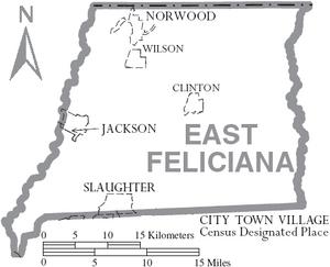 Map of East Feliciana Parish Louisiana With Municipal Labels